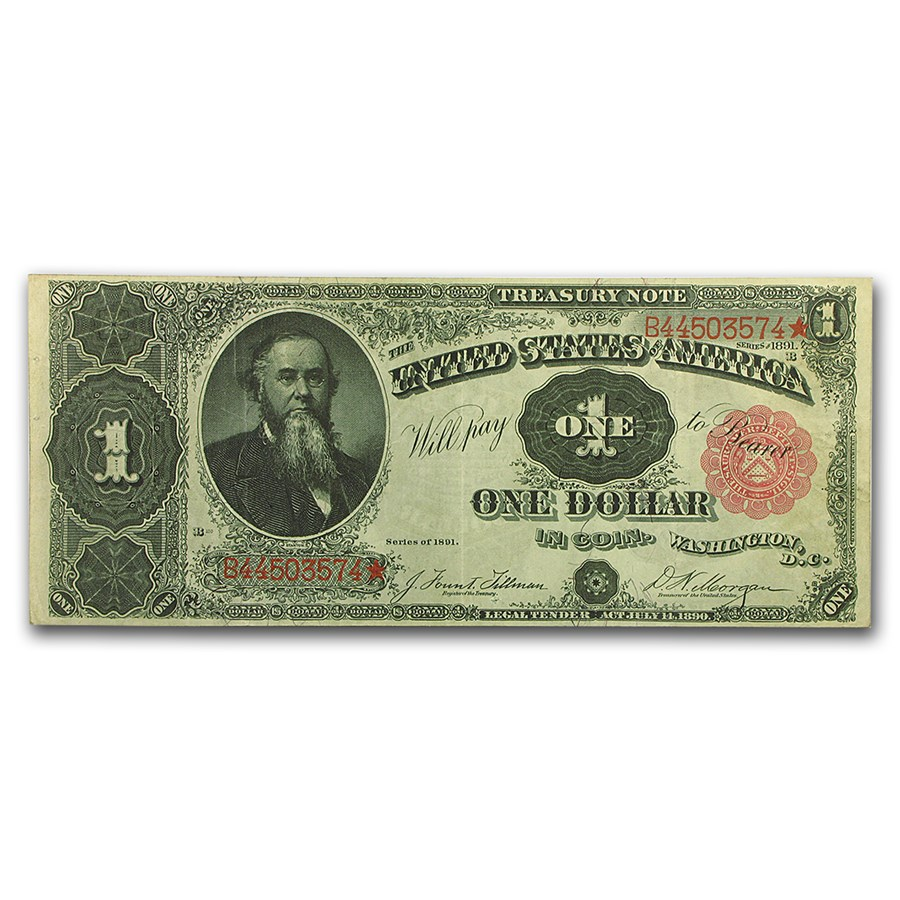 1891 $1.00 Treasury Note Stanton XF