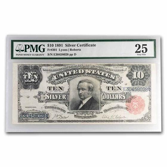 1891 $10 Silver Cert. Hendricks Tombstone VF-25 PMG (Fr#301)