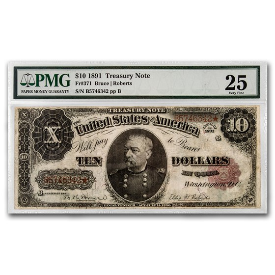 1891 $10 Treasury Note Sheridan VF-25 PMG