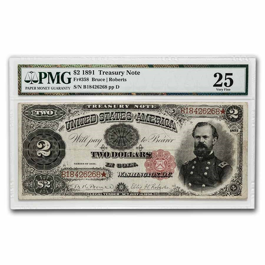 1891 $2.00 Treasury Note James McPherson VF-25 PMG (Fr#358)