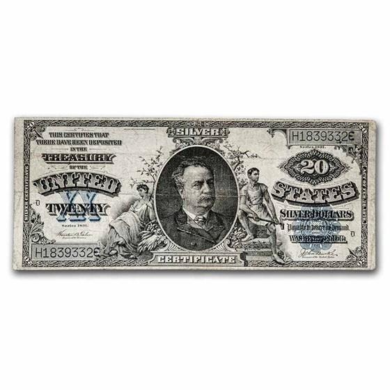 1891 $20 Silver Certificate Daniel Manning VF (Fr#322)