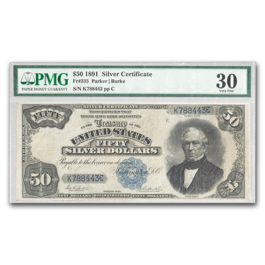 1891 $50 Silver Certificate Edward Everett VF-30 PMG (Fr#335)