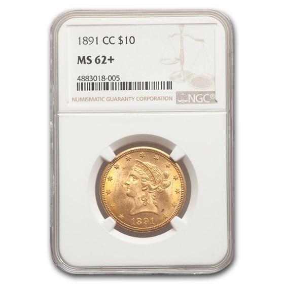 1891-CC $10 Liberty Gold Eagle MS-62+ NGC