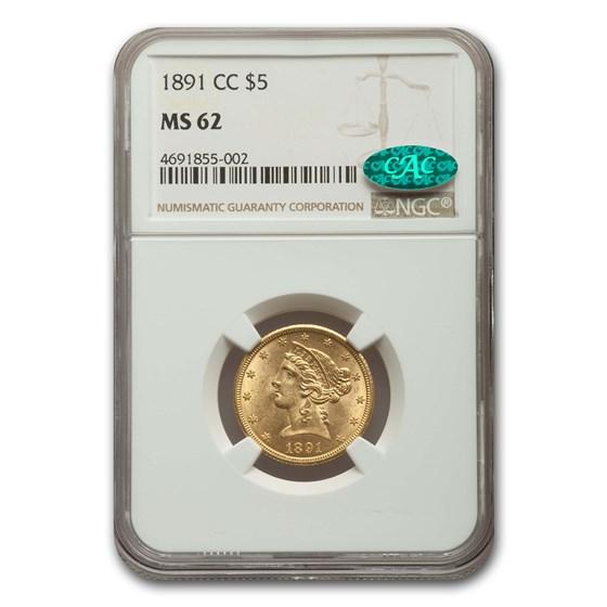 1891-CC $5 Liberty Gold Half Eagle MS-62 NGC CAC