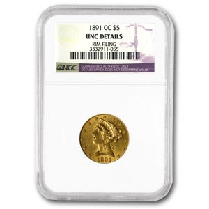 1891-CC $5 Liberty Gold Half Eagle Unc Detail NGC (Rim Dmg)