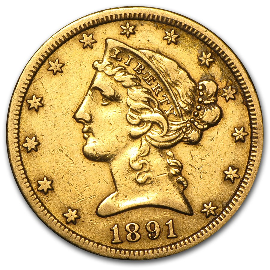 1891-CC $5 Liberty Gold Half Eagle XF Details (Cleaned)