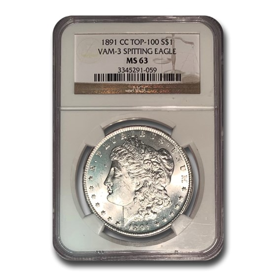 1891-CC Morgan Dollar MS-63 NGC (VAM-3, Spitting Eagle, Top-100)