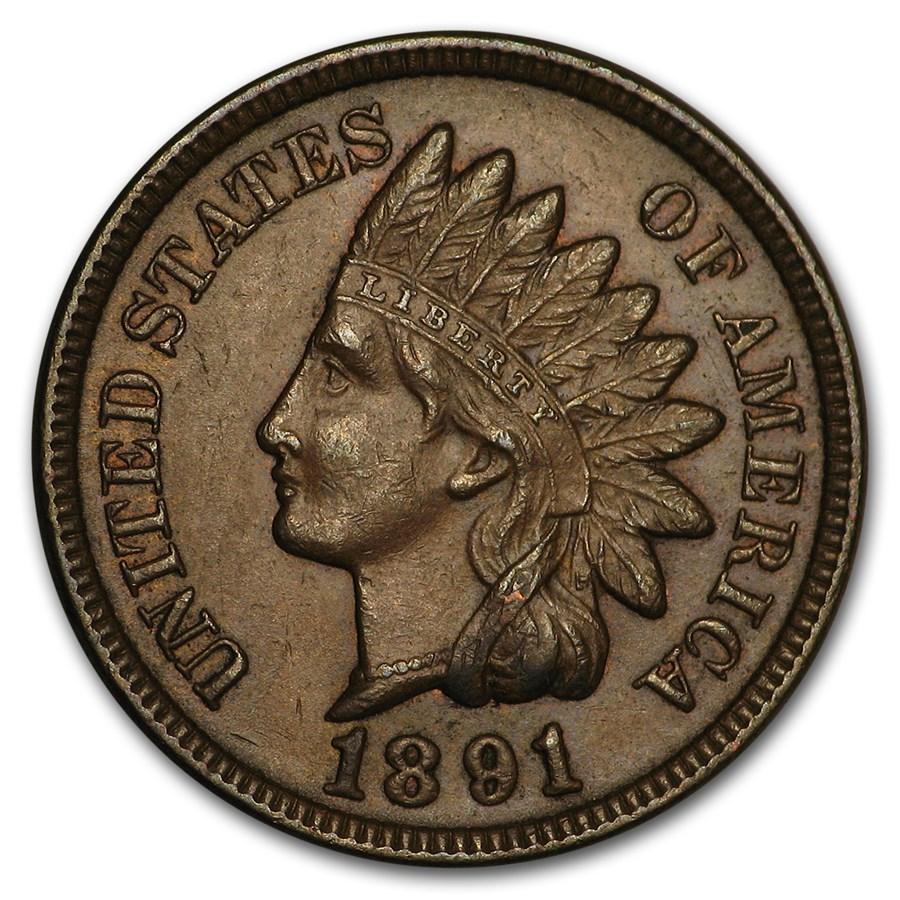 1891 Indian Head Cent AU