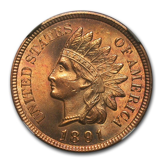 1891 Indian Head Cent MS-64 NGC (Red)