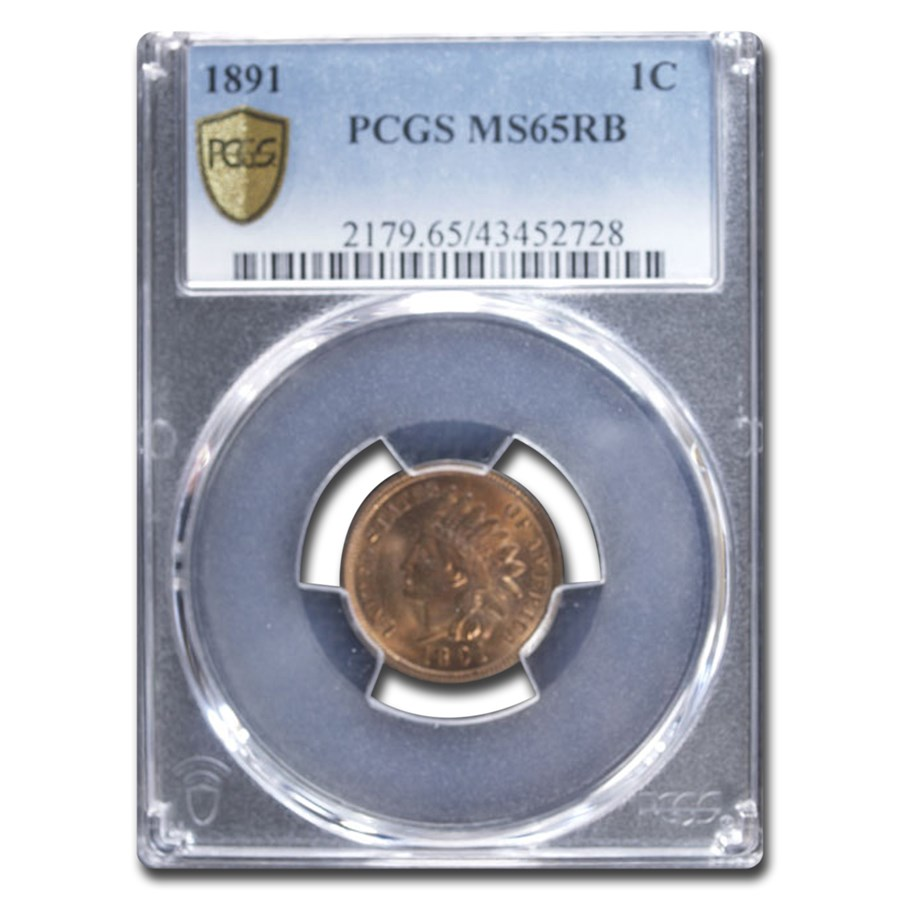 1891 Indian Head Cent MS-65 PCGS (Red/Brown)