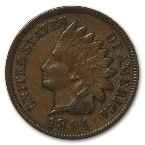 1891 Indian Head Cent XF
