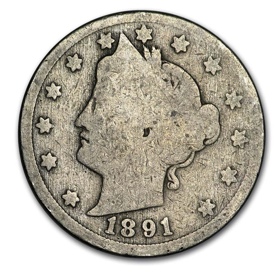 1891 Liberty Head V Nickel Good