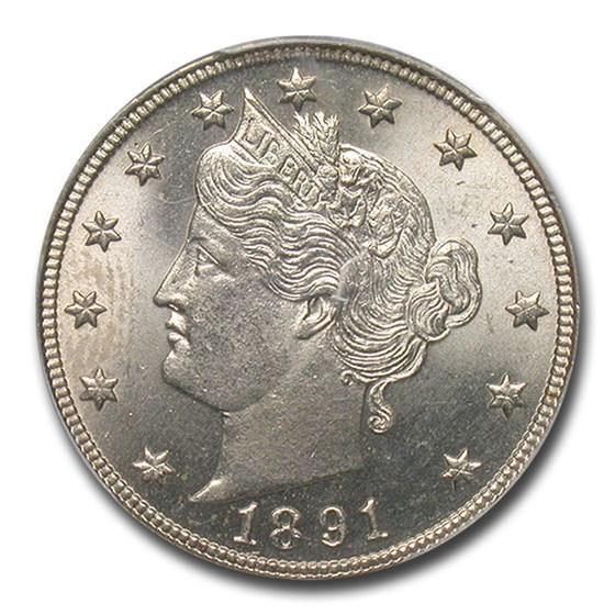1891 Liberty Head V Nickel MS-64+ PCGS