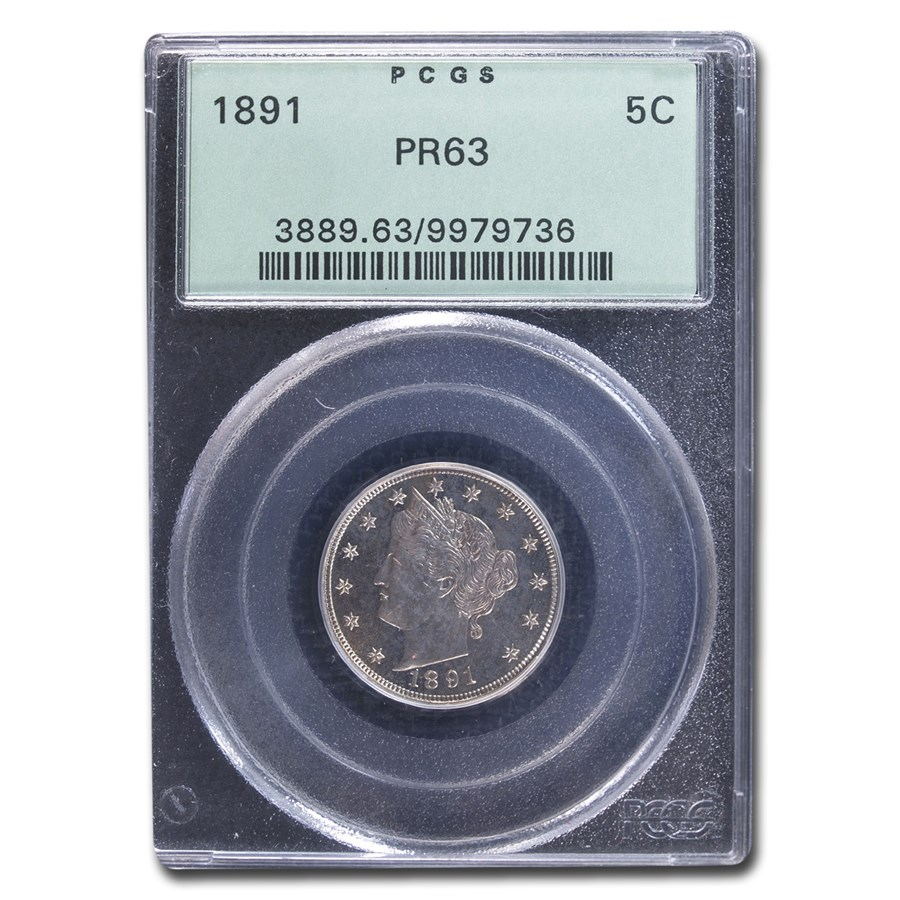 1891 Liberty Head V Nickel PR-63 PCGS