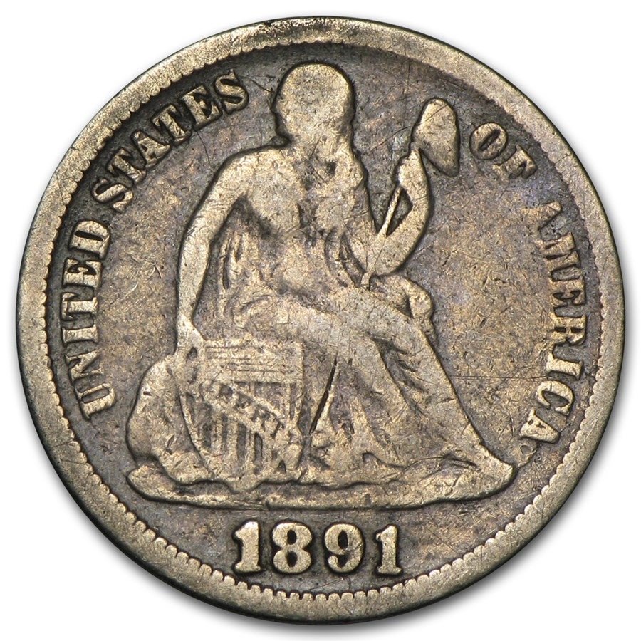 1891 Liberty Seated Dime VG