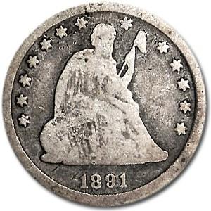 1891 Liberty Seated Quarter Good