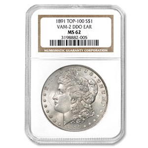 1891 MS-62 NGC (VAM-2, Doubled Ear, Top-100)