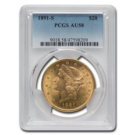 1891-S $20 Liberty Gold Double Eagle AU-58 PCGS