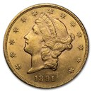 1891-S $20 Liberty Gold Double Eagle AU