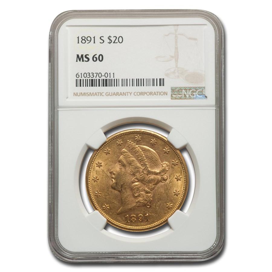 1891-S $20 Liberty Gold Double Eagle MS-60 NGC