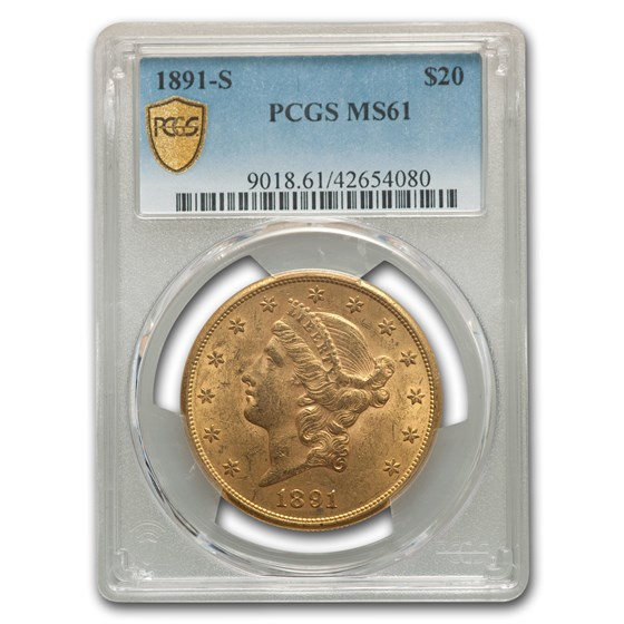 1891-S $20 Liberty Gold Double Eagle MS-61 PCGS