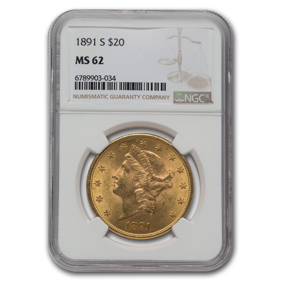 1891-S $20 Liberty Gold Double Eagle MS-62 NGC