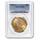 1891-S $20 Liberty Gold Double Eagle MS-62 PCGS