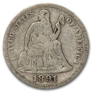 1891-S Liberty Seated Dime VG
