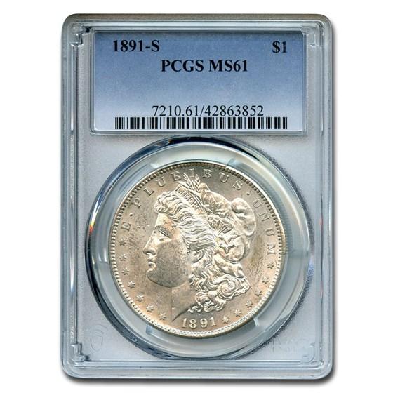 1891-S Morgan Dollar MS-61 PCGS