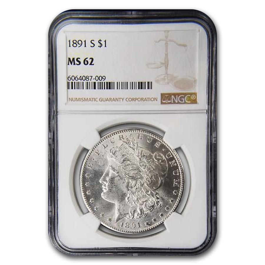 1891-S Morgan Dollar MS-62 NGC