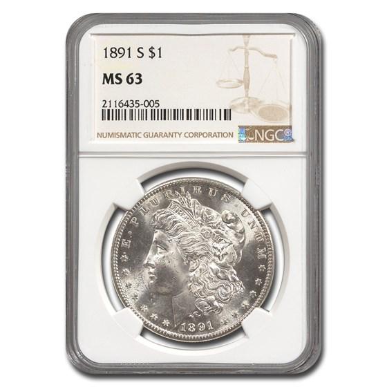 1891-S Morgan Dollar MS-63 NGC