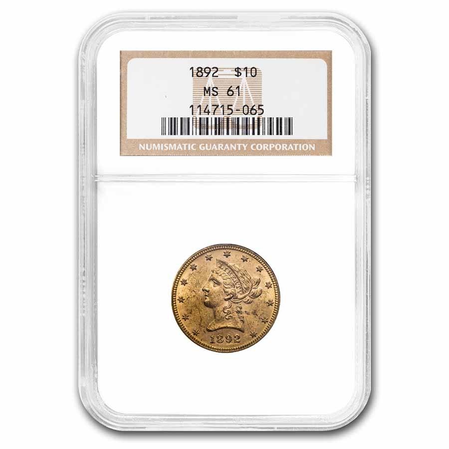 1892 $10 Liberty Gold Eagle MS-61 NGC