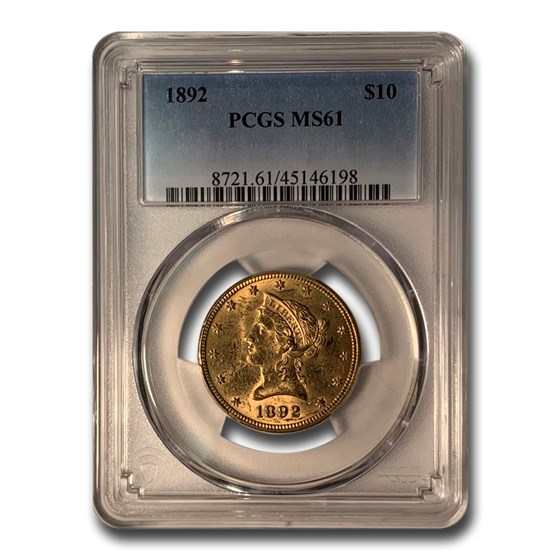 1892 $10 Liberty Gold Eagle MS-61 PCGS
