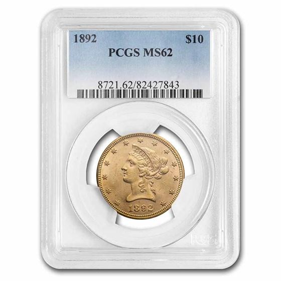 1892 $10 Liberty Gold Eagle MS-62 PCGS
