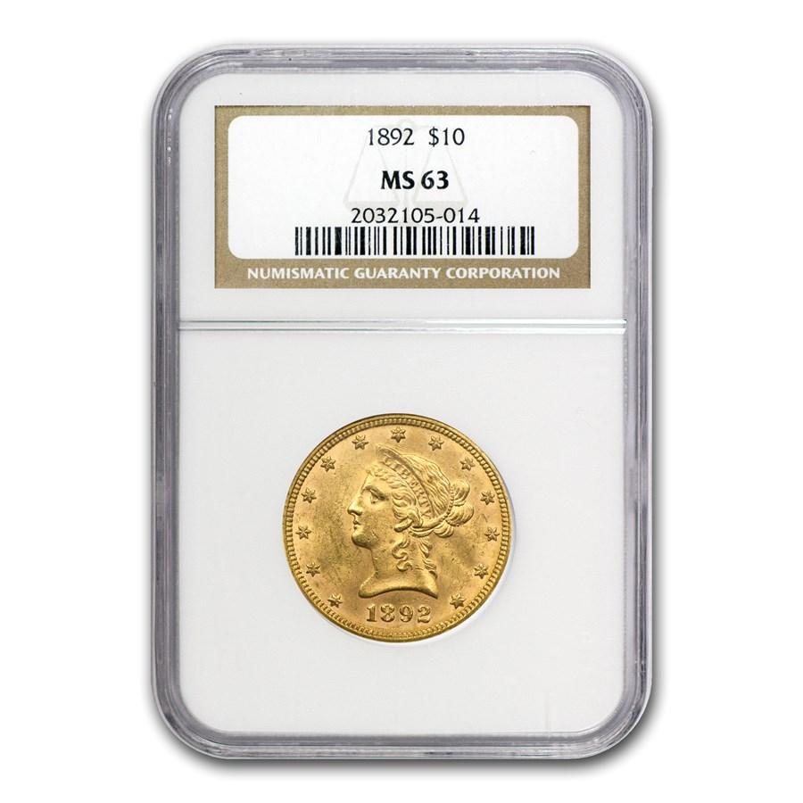 1892 $10 Liberty Gold Eagle MS-63 NGC