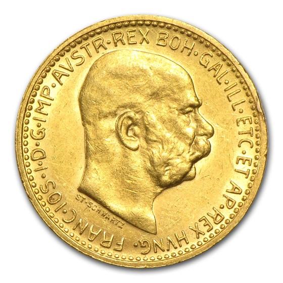 1892-1911 Austria Gold 10 Coronas (AU)