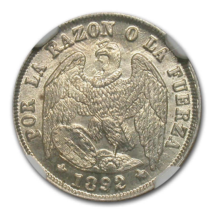 1892/82 Chile Silver 1/2 Decimo MS-66 NGC