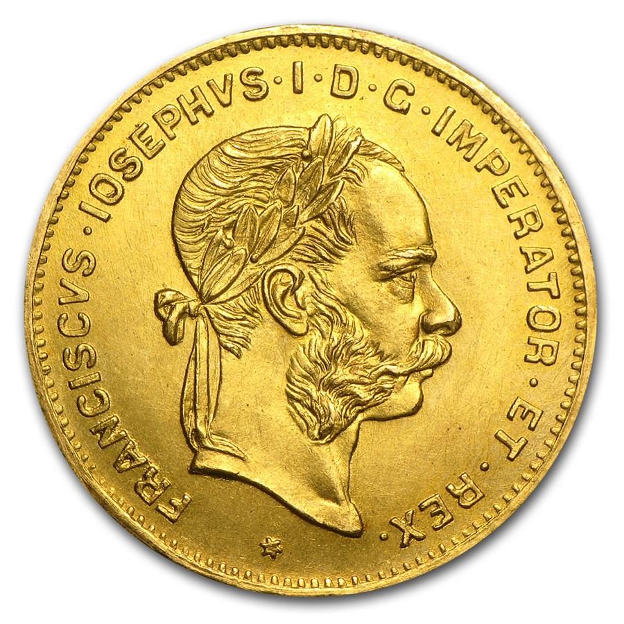 1892 Austria Gold 4 Florin/10 Francs Franz Joseph AU