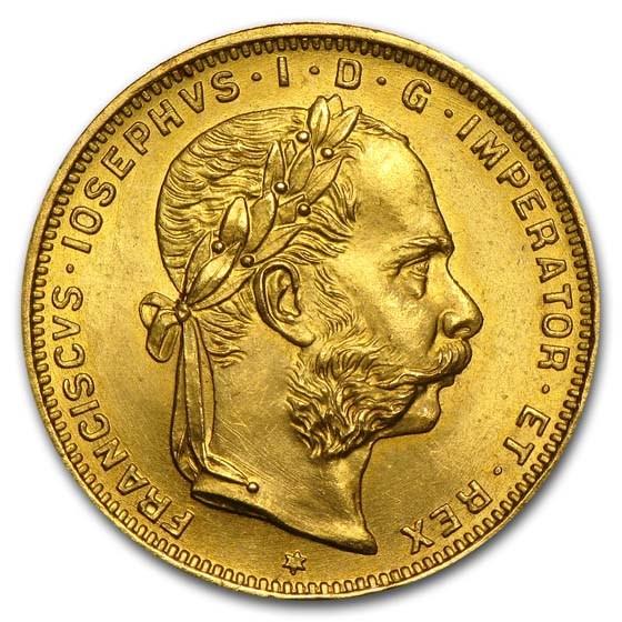 1892 Austria Gold 8 Florin/20 Francs AU