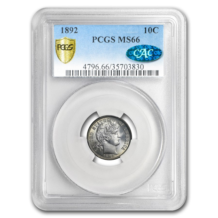 1892 Barber Dime MS-66 PCGS CAC