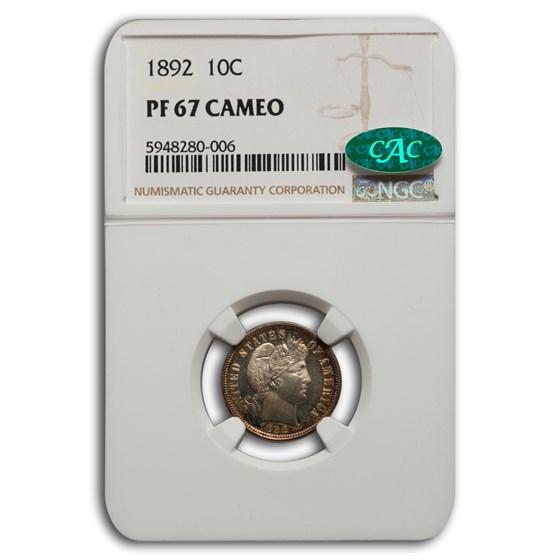 1892 Barber Dime PF-67 Cameo NGC CAC