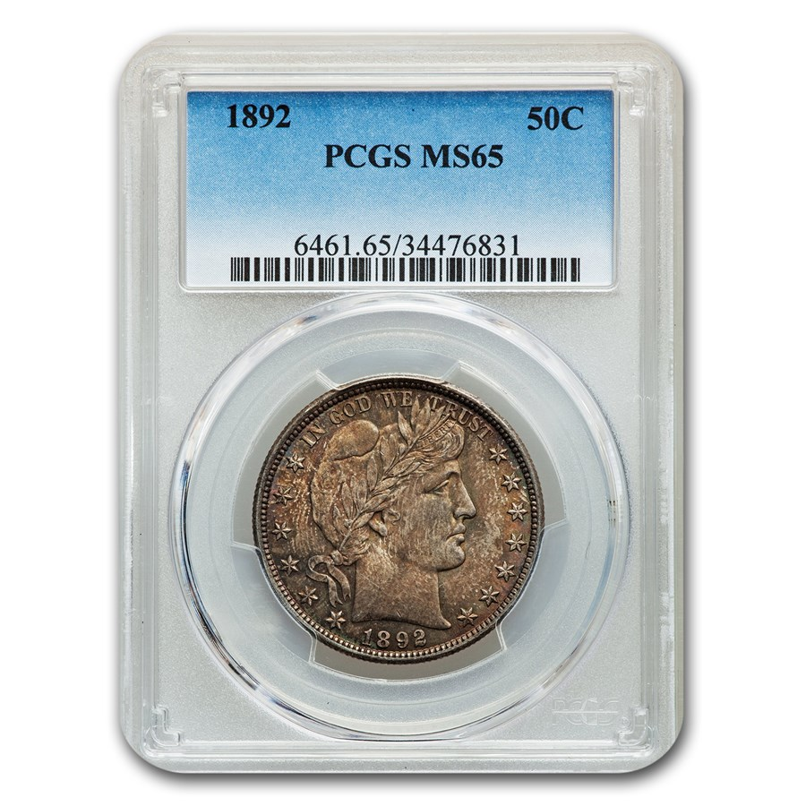 1892 Barber Half Dollar MS-65 PCGS