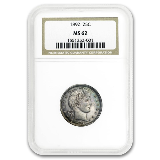 1892 Barber Quarter MS-62 NGC