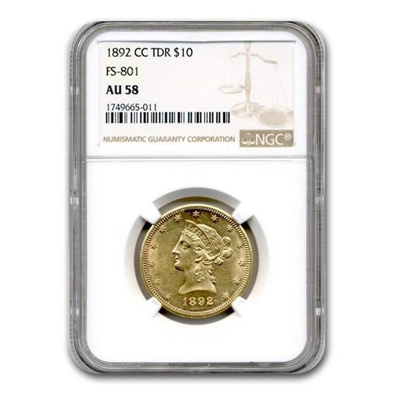1892-CC $10 Liberty Gold Eagle AU-58 NGC (TDR, FS-801)