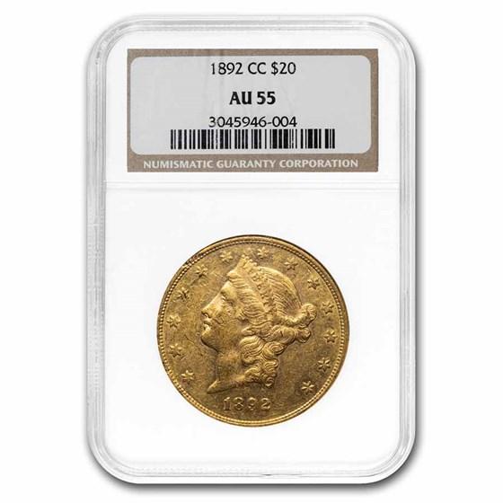 1892-CC $20 Liberty Gold Double Eagle AU-55 NGC