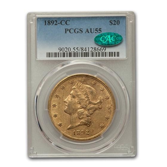 1892-CC $20 Liberty Gold Double Eagle AU-55 PCGS CAC