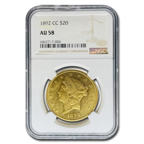 1892-CC $20 Liberty Gold Double Eagle AU-58 NGC