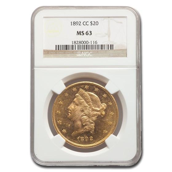 1892-CC $20 Liberty Gold Double Eagle MS-63 NGC