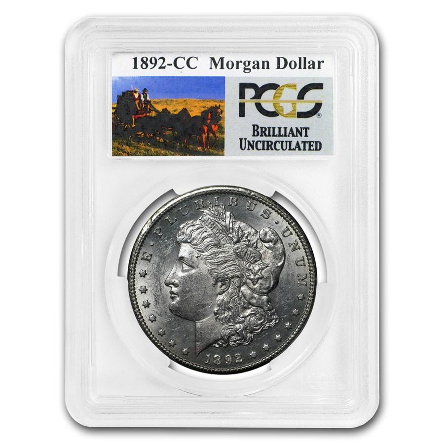 1892-CC Stage Coach Silver Dollar BU PCGS