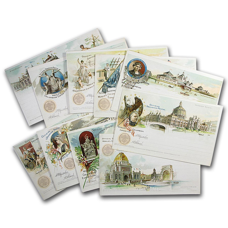 1892 Columbian Expo - 10 Different Columbian Exposition Postcards